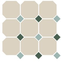 Напольная плитка TopCer Octagon OCT13+18-A White OCTAGON 16/Turquoise 13 + Green 18 Dots 30x30